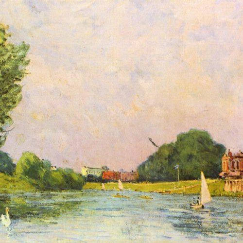 Thames En El Hampton Court (Alfred Sisley, 1874)